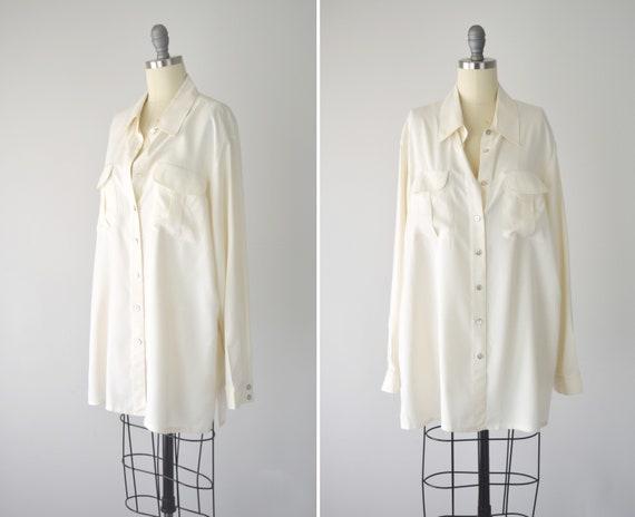 Cream Silk Blouse XL / Oversize Silk Blouse / Long