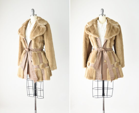 Faux Fur and Leather Jacket Med / 70s Faux Fur Coa