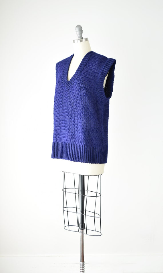 Indigo Sweater Vest Sm Med / Blue Purple Crochet … - image 3