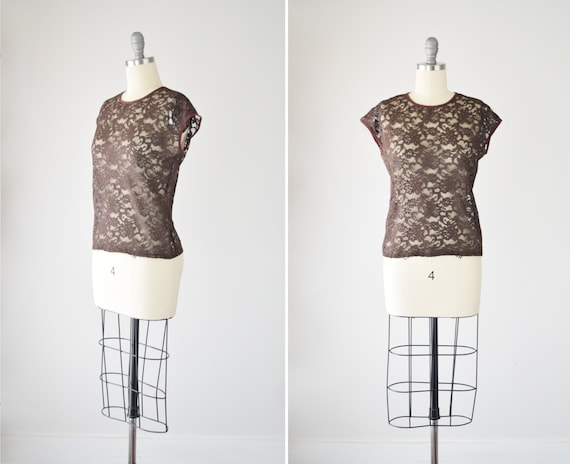 Stretch Lace Top Sm Med / Lace Knit Top / Brown La