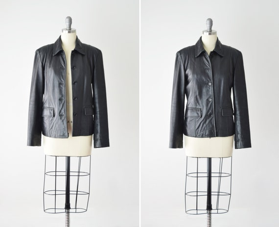 Leather Jacket Blazer Sm / Black Blazer / Leather