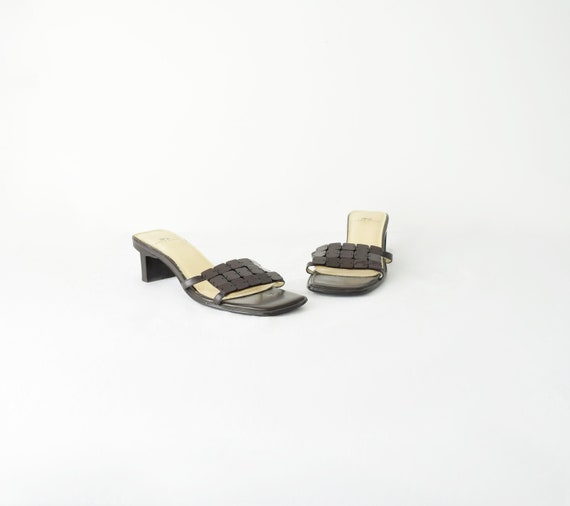 Leather Square Toe Sandals 5M / Brown Leather Sand