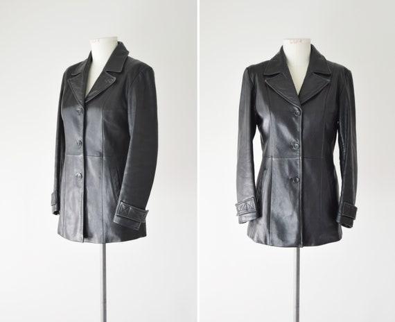 Leather Jacket Blazer Med / Black Blazer / Leather