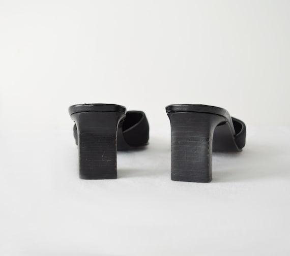 90s Square Toe Mules 7 / Black Satin Mules / Mini… - image 4