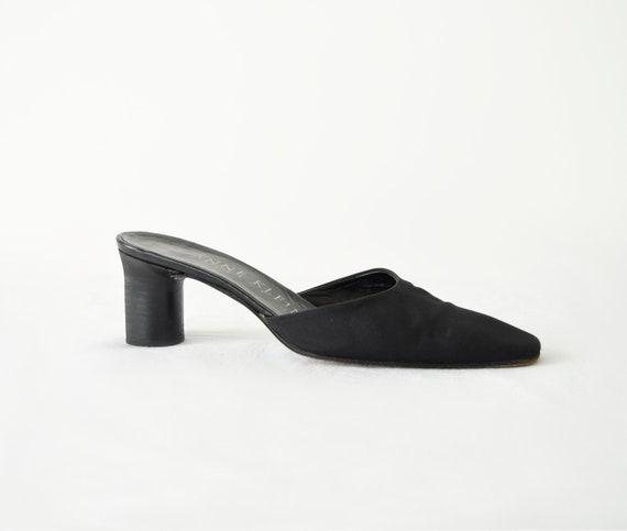 90s Square Toe Mules 7 / Black Satin Mules / Mini… - image 2