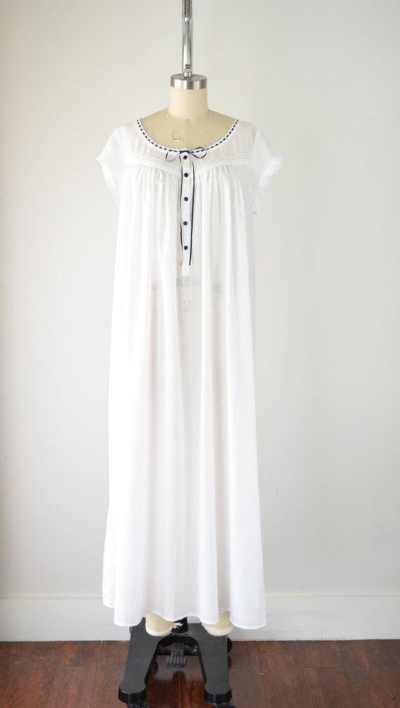 Vintage Cotton Nightgown Lg / White Cotton Nightg… - image 2