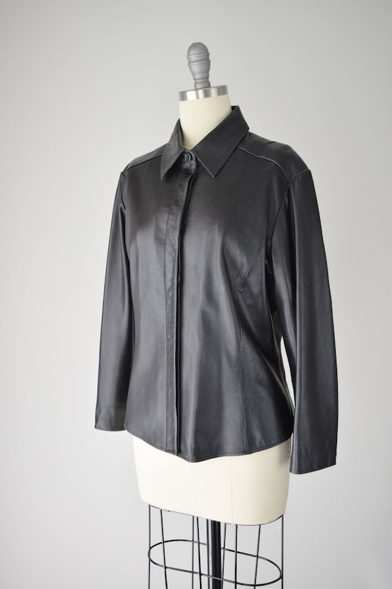 Leather Shirt Med / Relaxed Leather Shirt / Leath… - image 7