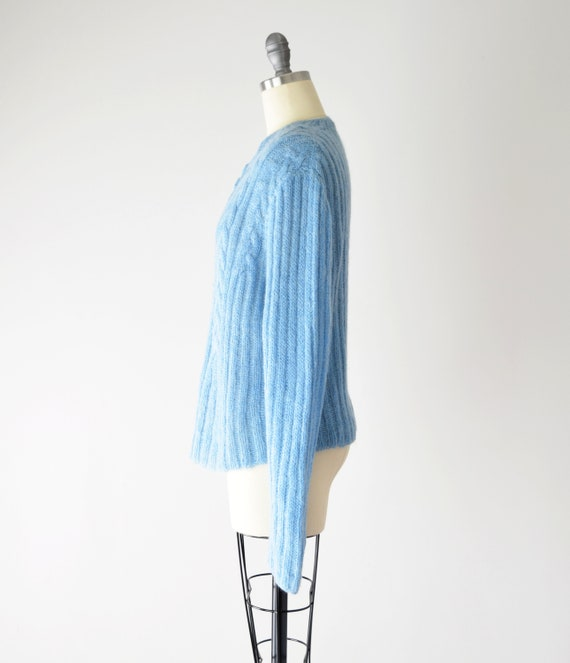 Blue Mohair Sweater Med / Mohair Cardigan / Hand … - image 6