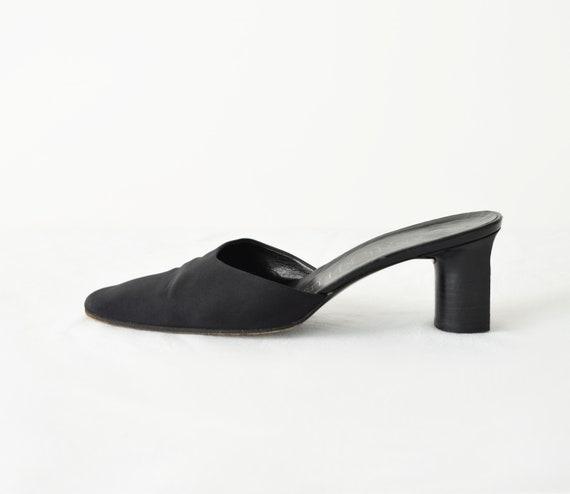 90s Square Toe Mules 7 / Black Satin Mules / Mini… - image 3