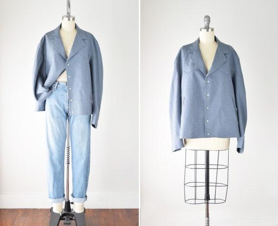 Blue Oversize Boxy Jacket XL / Western Style Jacke