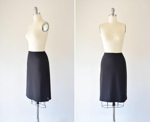 Black Knit Skirt M / Simple Black Skirt / Minimali