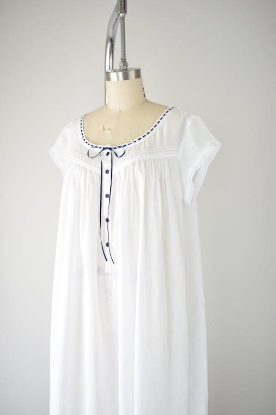 Vintage Cotton Nightgown Lg / White Cotton Nightg… - image 6