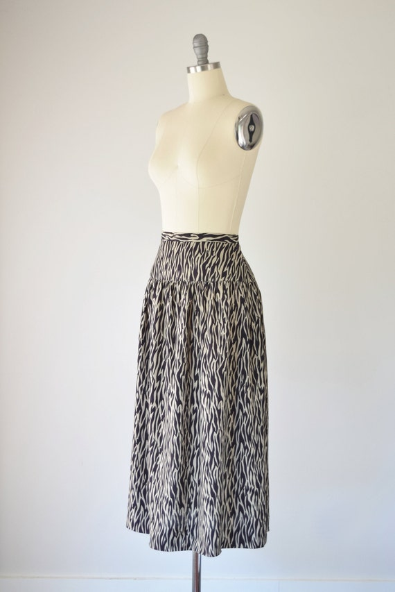 Zebra Print Midi Skirt XS / Brown Zebra Print Ski… - image 3