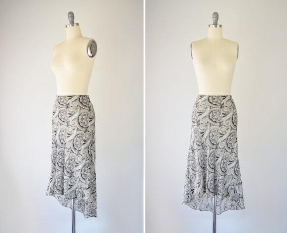 Y2K Silk Slip Skirt Lg / Silk Midi Slip Skirt / 90