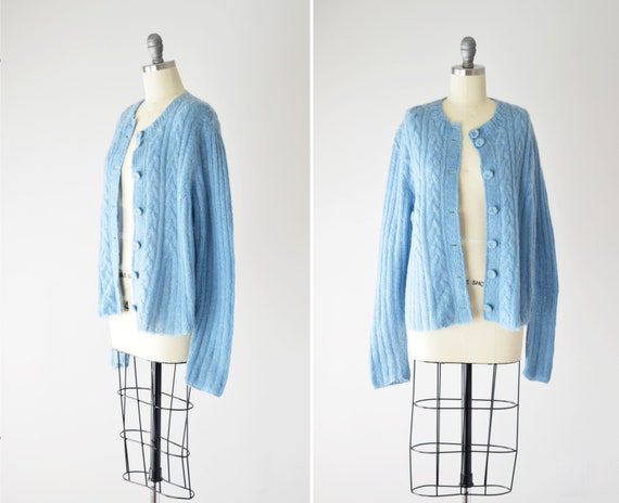Blue Mohair Sweater Med / Mohair Cardigan / Hand K