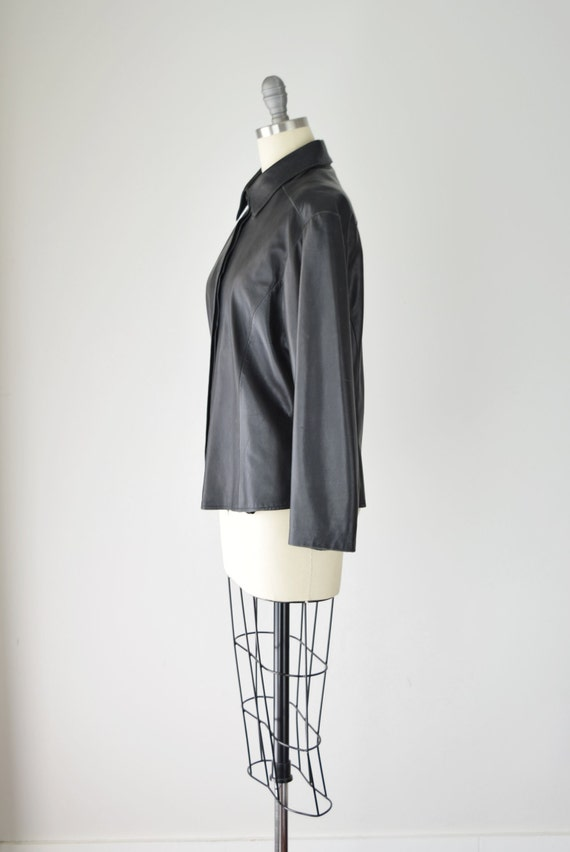 Leather Shirt Med / Relaxed Leather Shirt / Leath… - image 3