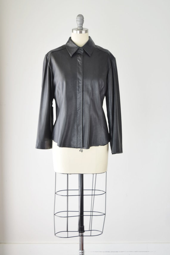 Leather Shirt Med / Relaxed Leather Shirt / Leath… - image 2