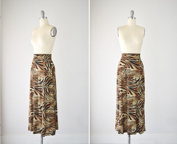 Tiger Print Knit Maxi Skirt S / Animal Print Maxi