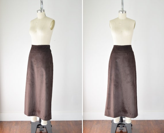 Faux Fur Maxi Skirt Med / Brown Faux Fur Skirt / F