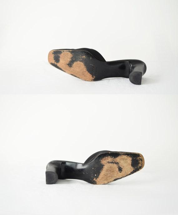 90s Square Toe Mules 7 / Black Satin Mules / Mini… - image 6