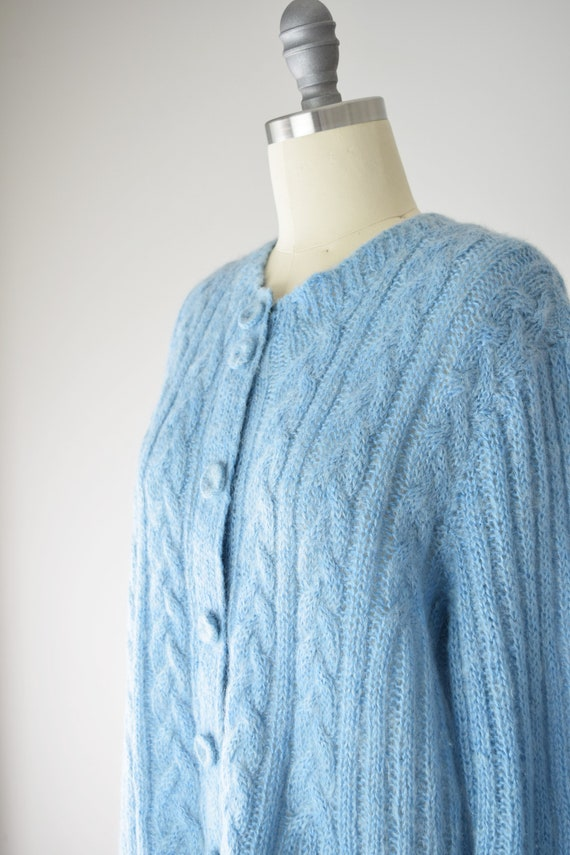 Blue Mohair Sweater Med / Mohair Cardigan / Hand … - image 8