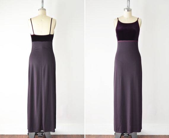 90s Purple Maxi Slip Dress XS /Two Tone Minimal Ma