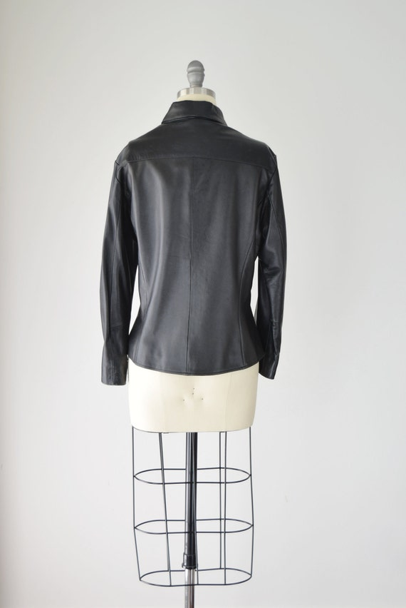 Leather Shirt Med / Relaxed Leather Shirt / Leath… - image 5