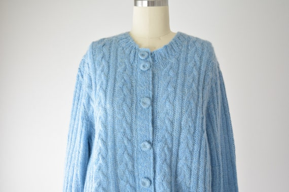 Blue Mohair Sweater Med / Mohair Cardigan / Hand … - image 2
