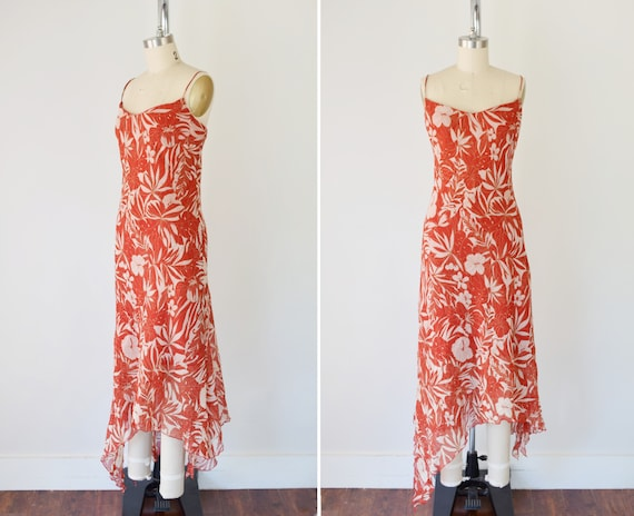 Bias Cut Slip Dress Lg / Red Floral Print Slip Dre
