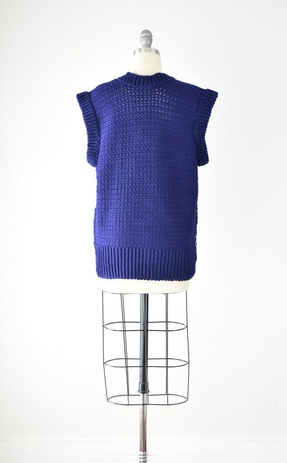 Indigo Sweater Vest Sm Med / Blue Purple Crochet … - image 5