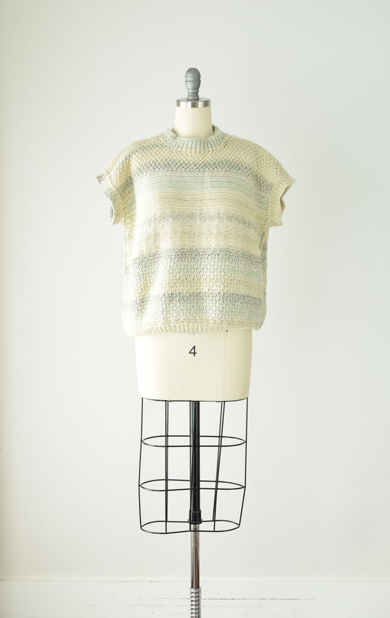 Pale Chunky Sweater Vest Med Lg/ Wool Sweater Ves… - image 2