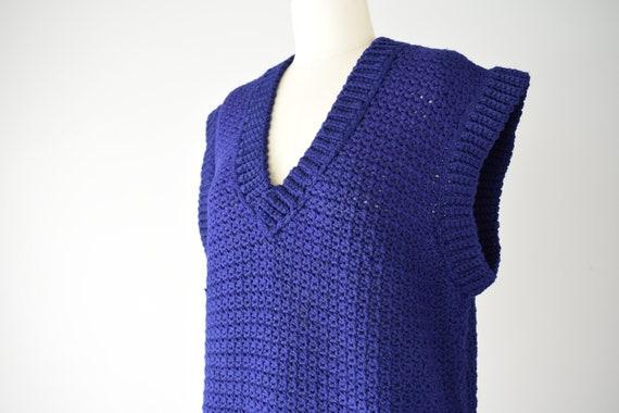 Indigo Sweater Vest Sm Med / Blue Purple Crochet … - image 6