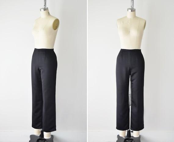 Satin Crop Mid Rise Pants Sm / Black Satin Pants /