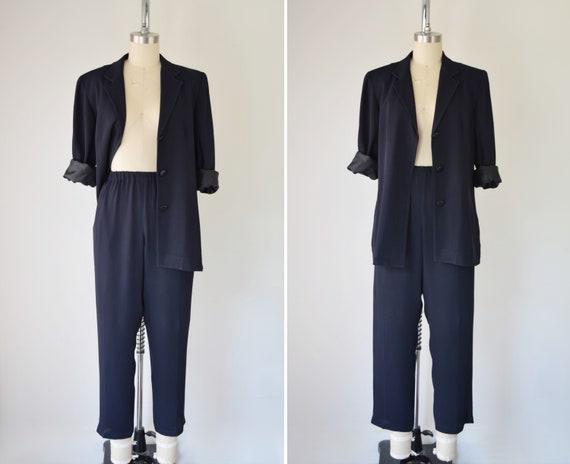 90s DKNY Silk Pantsuit / Silk Pants Set / Pant Set