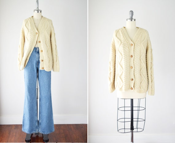 Fisherman Cardigan Sweater Sm Med / Handmade Cable