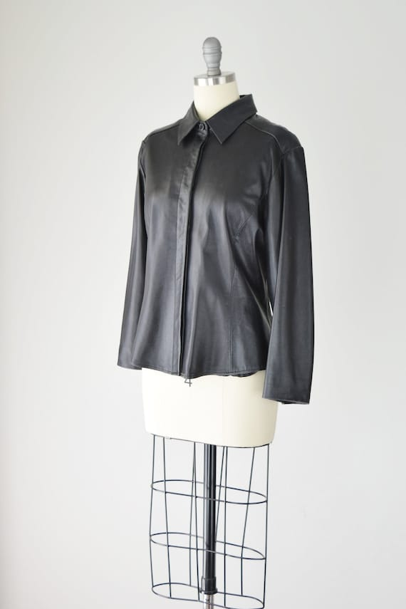 Leather Shirt Med / Relaxed Leather Shirt / Leath… - image 4