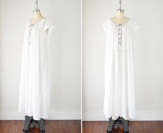Vintage Cotton Nightgown Lg / White Cotton Nightgo