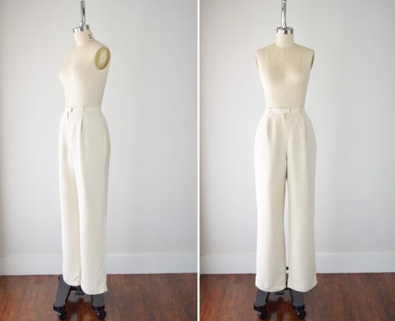 Cream Silk Trousers 27 in / High Waisted Silk Pant