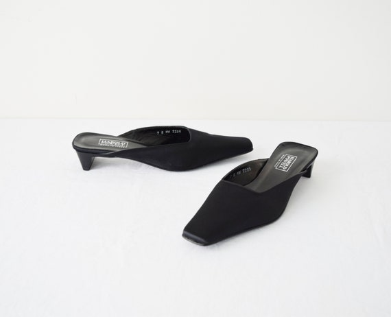 90s Square Toe Mules 7 / Black Satin Mules / Minim