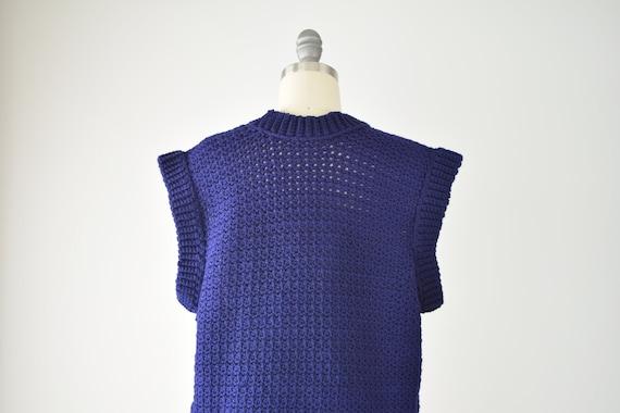 Indigo Sweater Vest Sm Med / Blue Purple Crochet … - image 7