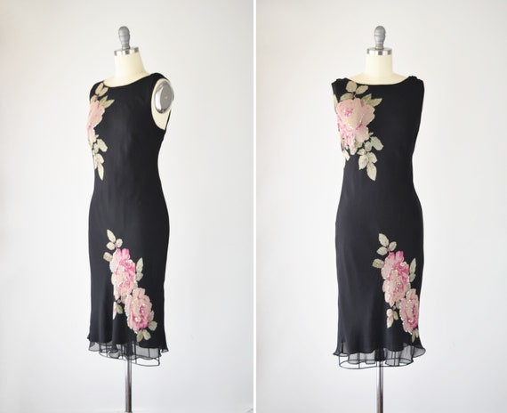 Black Silk Bias Dress Med / Silk Slip Dress / Bias