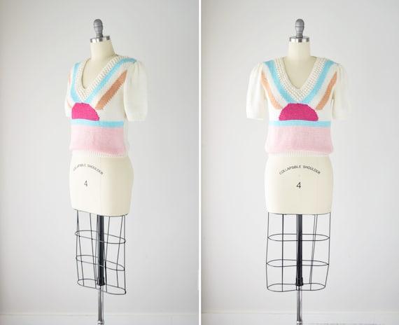 80s Puff Sleeve Sweater Sm / Short Sleeve Handknit