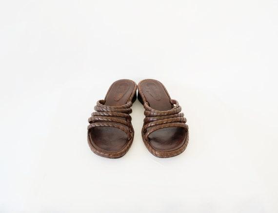 Vintage Brown Low Block Heel Sandal Mules Size 8 - image 3