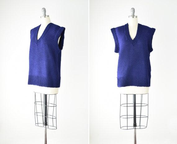 Indigo Sweater Vest Sm Med / Blue Purple Crochet … - image 1