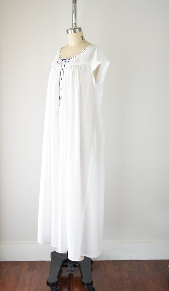 Vintage Cotton Nightgown Lg / White Cotton Nightg… - image 3