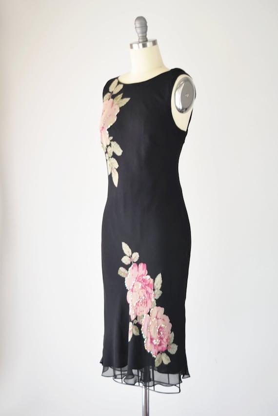 Black Silk Bias Dress Med / Silk Slip Dress / Bia… - image 3