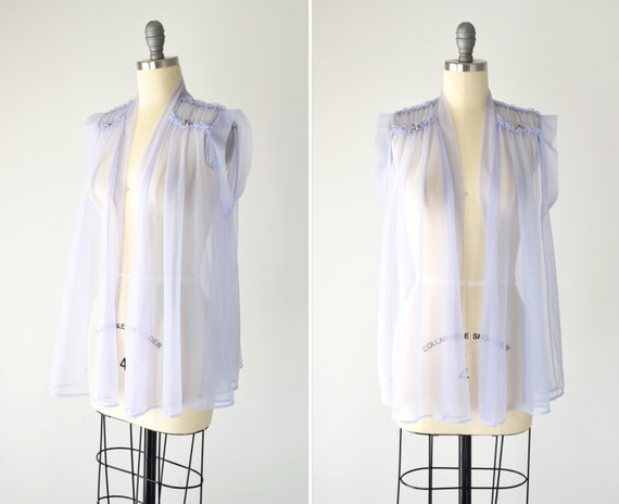 Lilac Sheer Blouse Sm Med / Sleeveless Sheer Top /