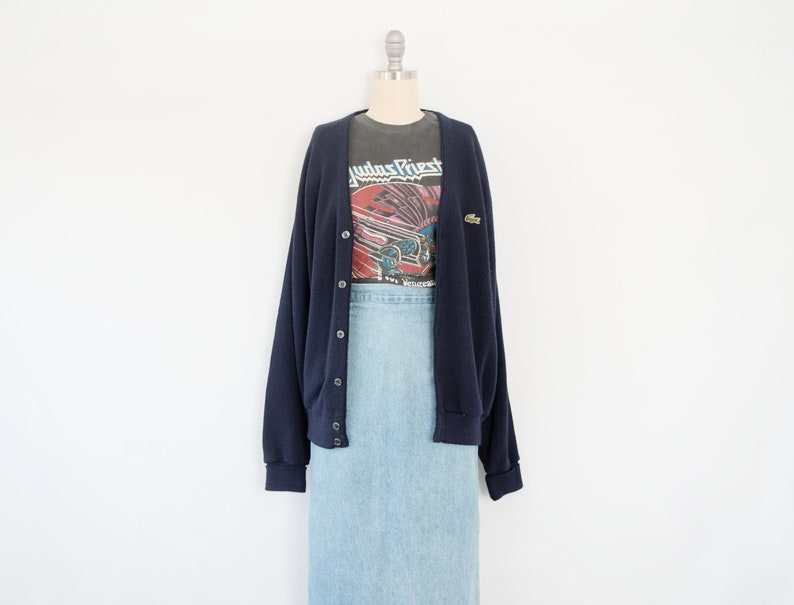 84db41a0abaf3 Vintage Lacoste Slouchy Navy Sweater / Cardigan / Lightweight / Dark Blue /  Size Large