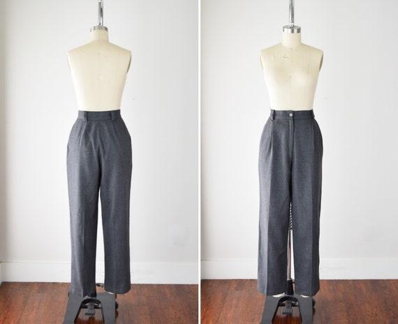 Gray Pleated Wool Pants 27w / 27 Inch Waist / High
