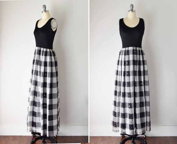70s Gingham Maxi / Fit and Flare Dress / Black and